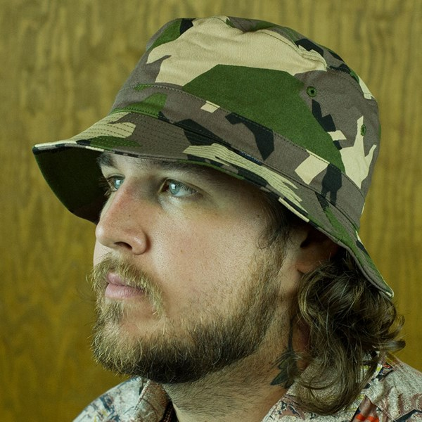 Matix Mediums Bucket Hat Woodland Camo From the front.