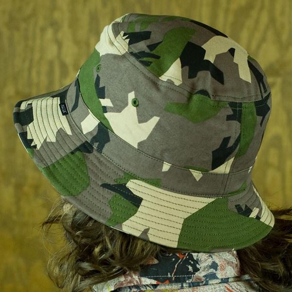 Matix Mediums Bucket Hat Woodland Camo From the back.