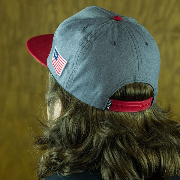 HUF Classic H Snap Back Hat Heather Grey, Red From the back.
