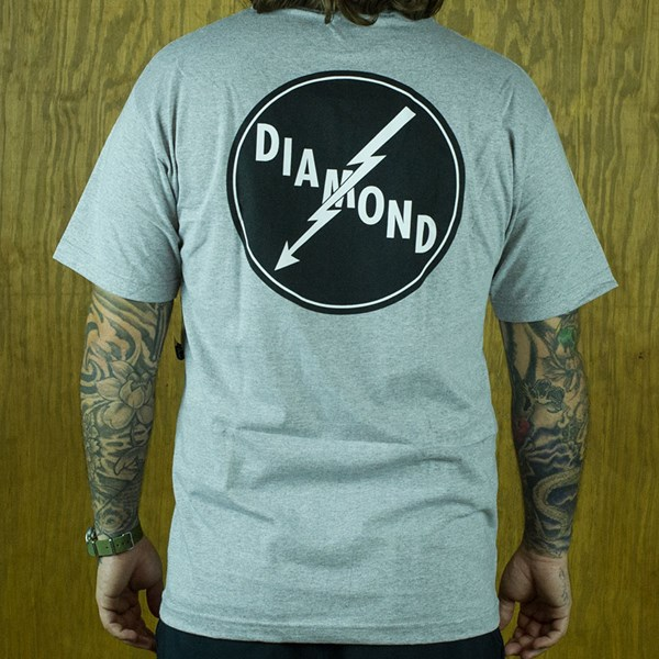 Diamond Lightning T Shirt Heather Grey From the back.