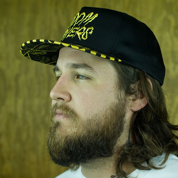 Doom Sayers Checkered Snap Back Hat Black, Yellow From the front.