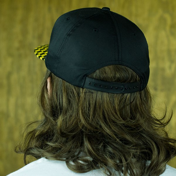 Doom Sayers Checkered Snap Back Hat Black, Yellow From the back.