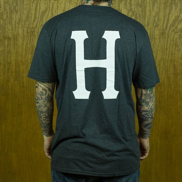 HUF Classic H Pocket T Shirt Dark Charcoal Heather From the back.