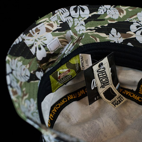The Official Brand Hibiscus Bucket Hat 3M Camo Stash pocket.