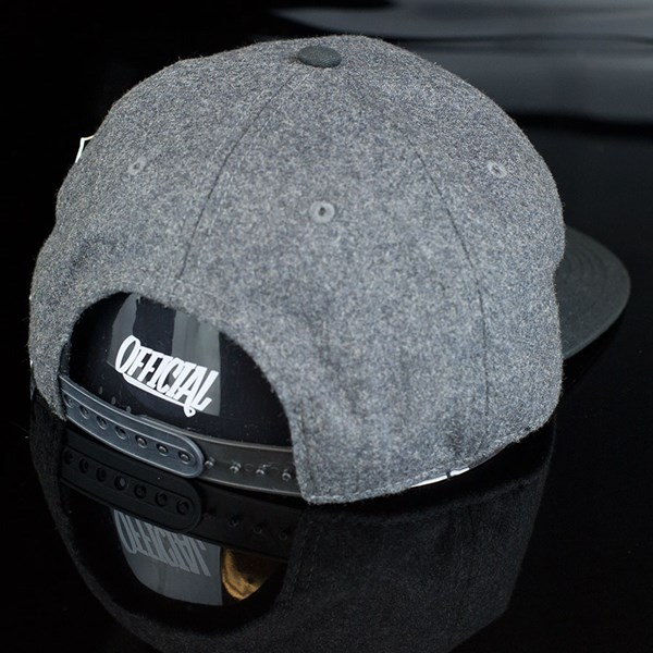 The Official Brand JT Eagle Wool Snap Back Hat Grey, Black Back.