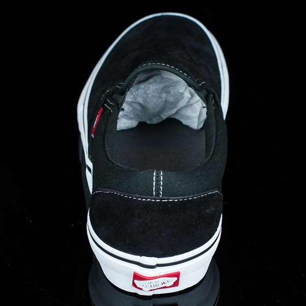 Vans Slip On Pro Shoes Black, White, Red Rotate 12 O'Clock