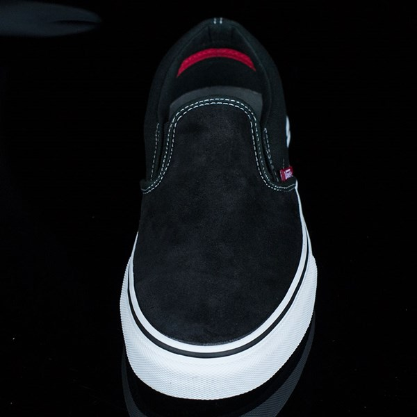 Vans Slip On Pro Shoes Black, White, Red Rotate 6 O'Clock