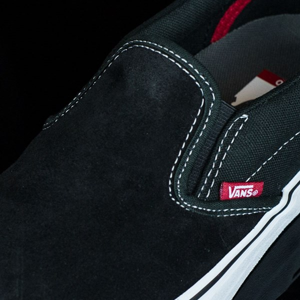 Vans Slip On Pro Shoes Black, White, Red Tongue