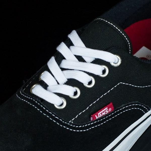 Vans Era Pro Shoes Black, White, Red Tongue