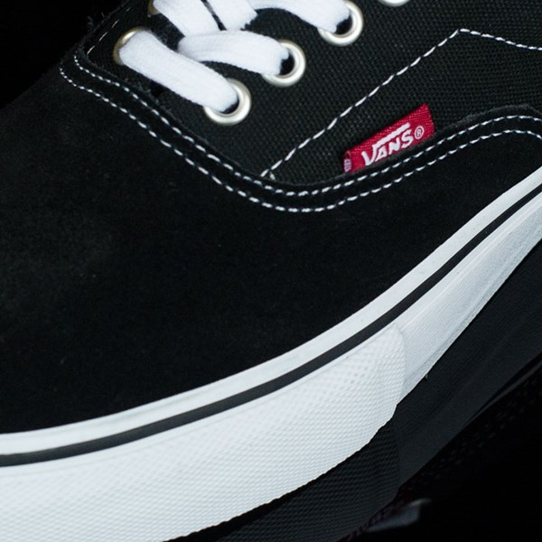 Vans Era Pro Shoes Black, White, Red Closeup