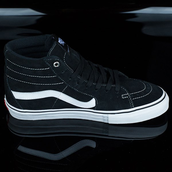 Vans Sk8-Hi Pro Shoes Black, White, Red Rotate 3 O'Clock