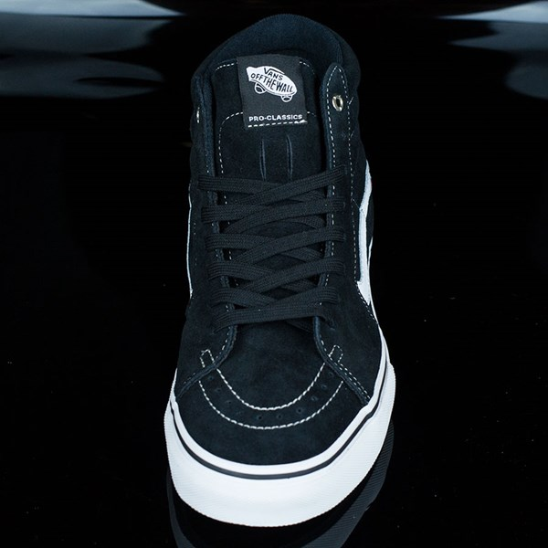 Vans Sk8-Hi Pro Shoes Black, White, Red Rotate 6 O'Clock