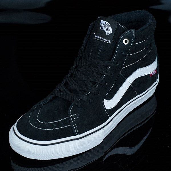 Vans Sk8-Hi Pro Shoes Black, White, Red Rotate 7:30