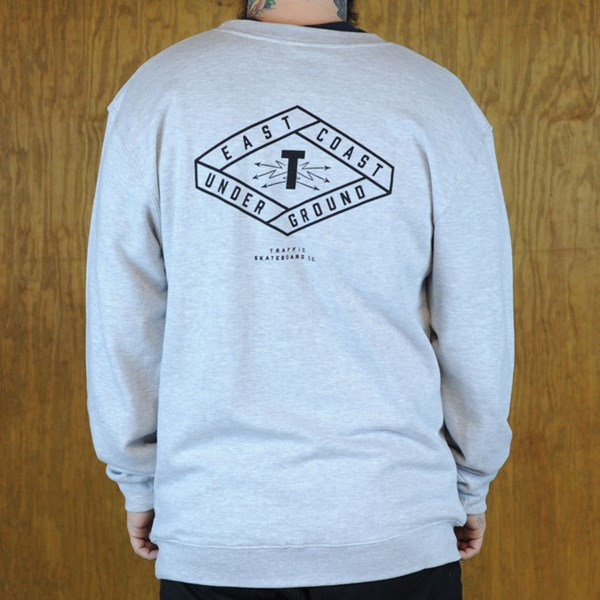 Traffic Electrici-T Crew Neck Sweatshirt Heather Grey Back