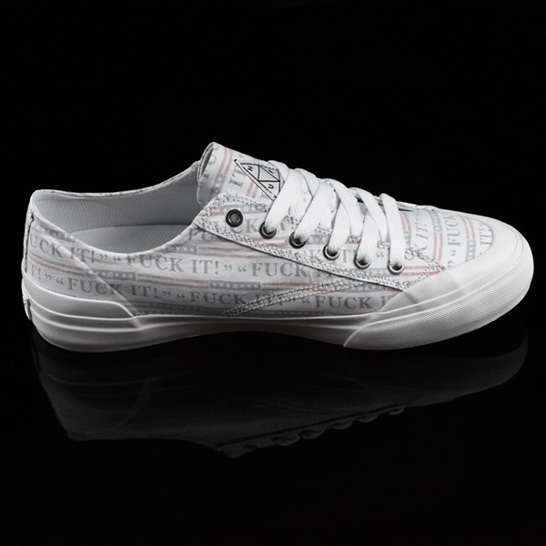 HUF Classic Lo Shoes Fu-k It, White Rotate 3 O'Clock