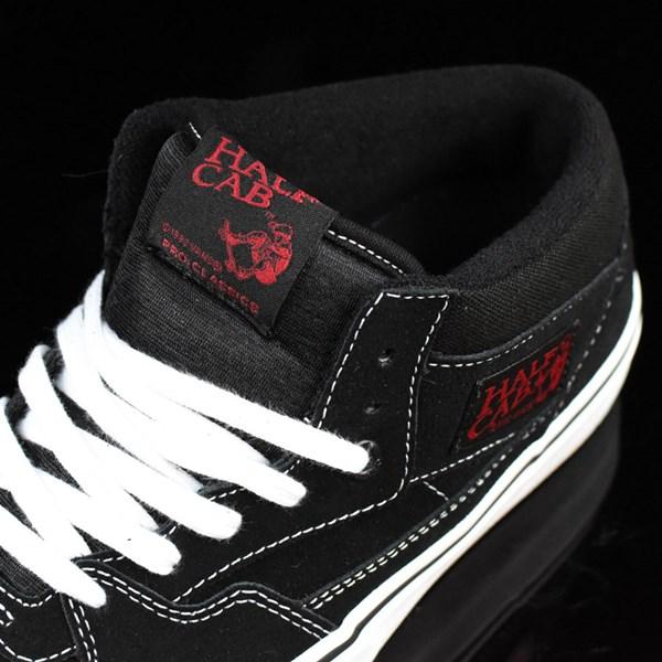 Vans Half Cab Pro Shoes Black, White, Red Tongue