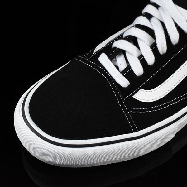 Vans Old Skool Pro Shoes Black, White, Red Closeup