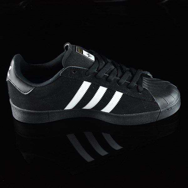 adidas Superstar Vulc ADV Shoes Black Suede, Black, White Rotate 3 O'Clock