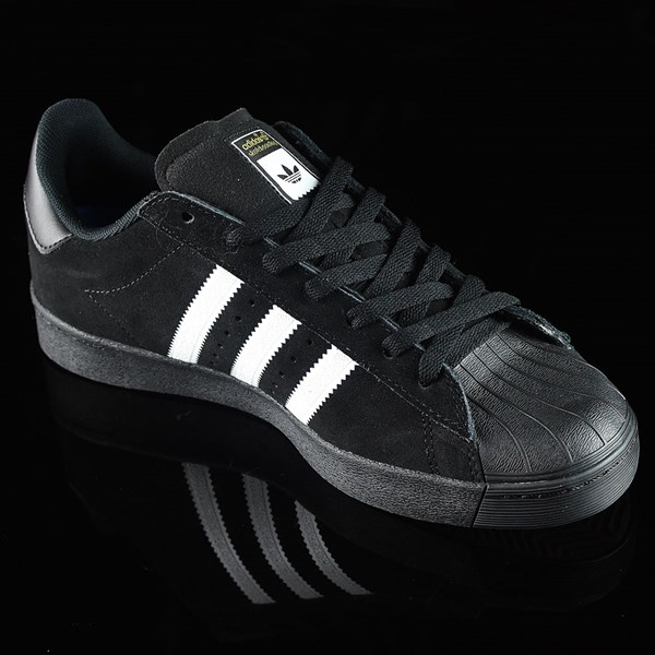 adidas Superstar Vulc ADV Shoes Black Suede, Black, White Rotate 4:30