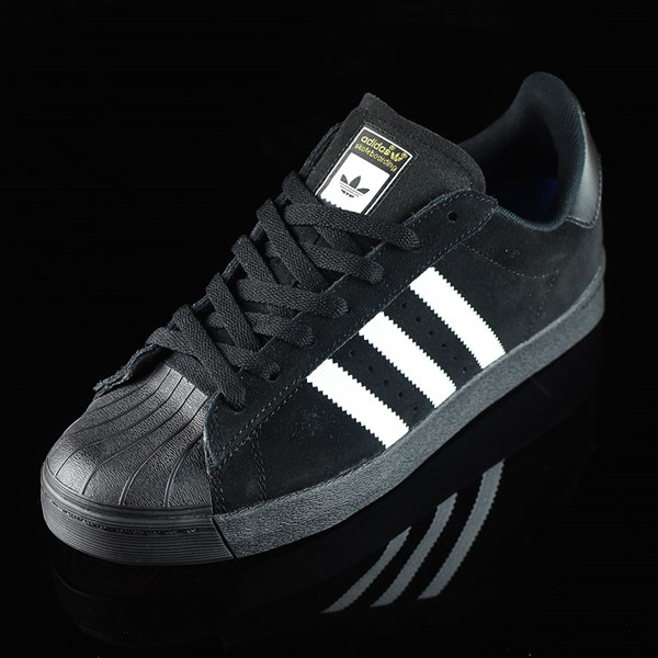 adidas Superstar Vulc ADV Shoes Black Suede, Black, White Rotate 7:30