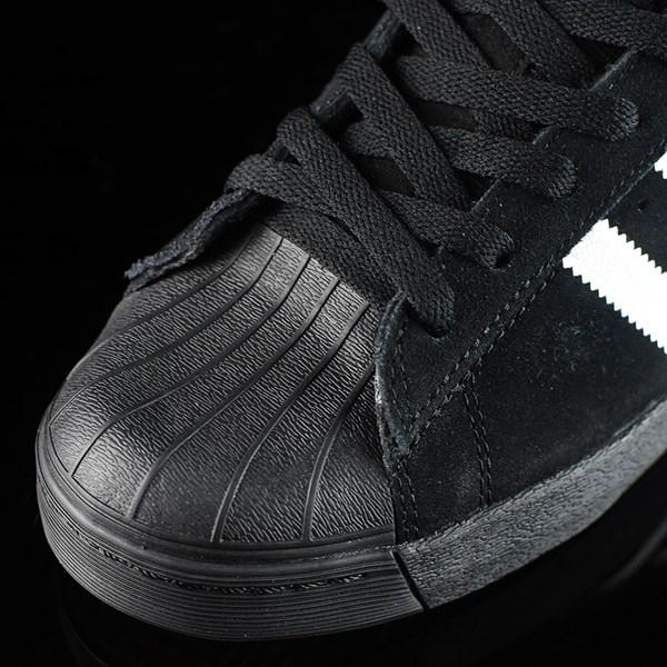 adidas Superstar Vulc ADV Shoes Black Suede, Black, White Closeup