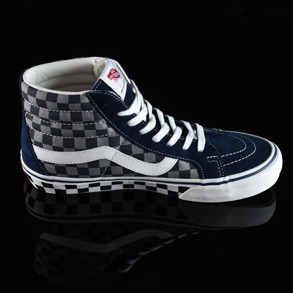 Vans Sk8-Hi Pro Shoes '83 Navy Checkered Rotate 3 O'Clock