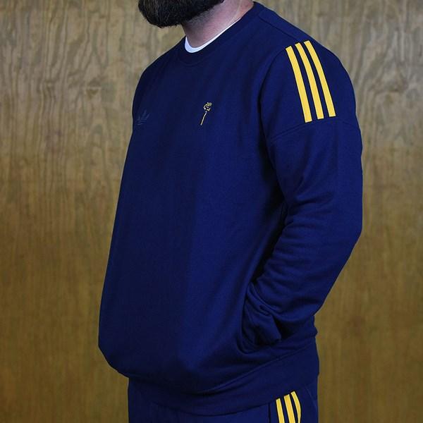 adidas adidas X Hardies Crew Neck Sweatshirt Navy, Yellow Side