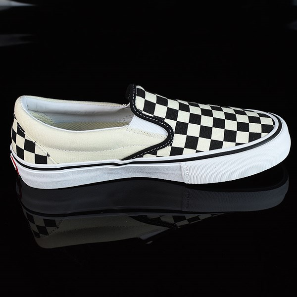 Vans Slip On Pro Shoes Black, White, Checkerboard Rotate 3 O'Clock