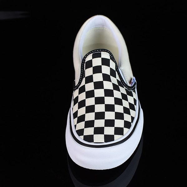 Vans Slip On Pro Shoes Black, White, Checkerboard Rotate 6 O'Clock