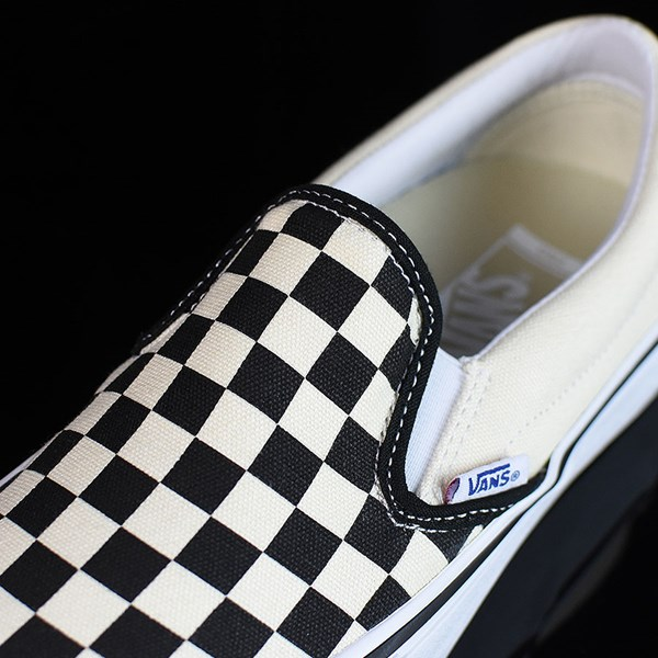 Vans Slip On Pro Shoes Black, White, Checkerboard Tongue