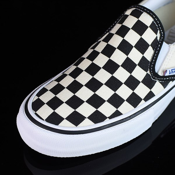 Vans Slip On Pro Shoes Black, White, Checkerboard Closeup