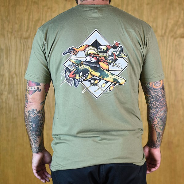 The Boardr Gunner T Shirt Army Green Back