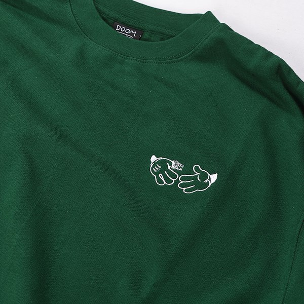 Doom Sayers Cartoon Crew Neck Sweatshirt Green Detail