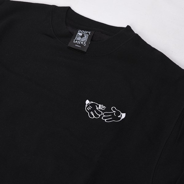 Doom Sayers Cartoon Crew Neck Sweatshirt Black Detail