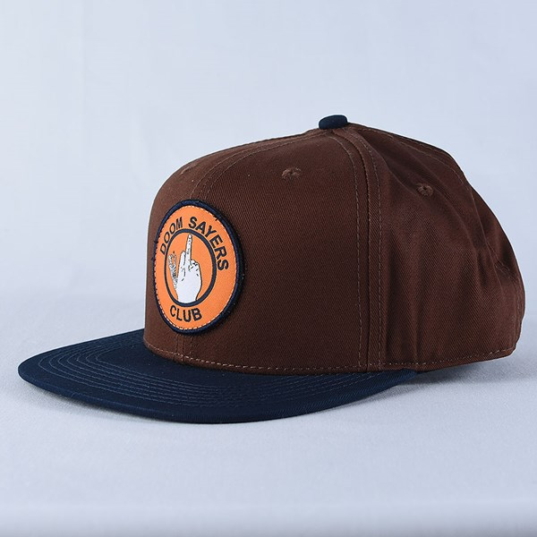 Doom Sayers Up Yours Snap Back Hat Brown, Navy Side