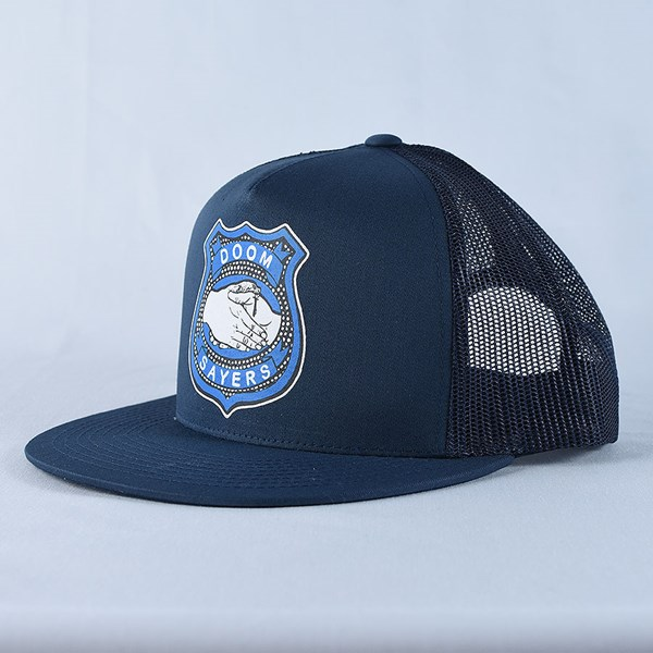 Doom Sayers Corp Guy Trucker Hat Navy Side