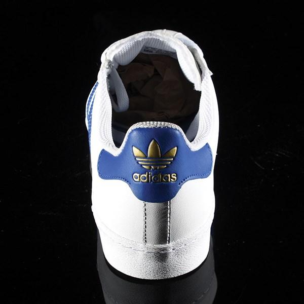 adidas Superstar Vulc ADV Shoe White, Royal, Gold Rotate 12 O'Clock