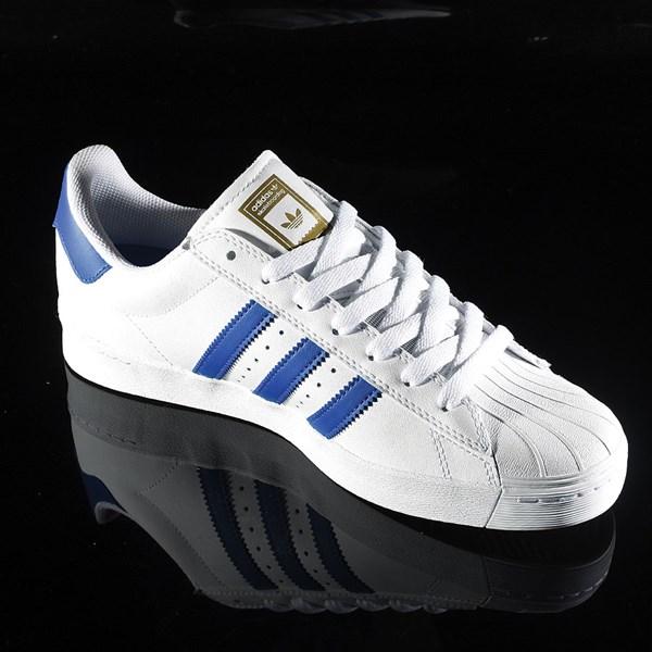 adidas Superstar Vulc ADV Shoe White, Royal, Gold Rotate 4:30