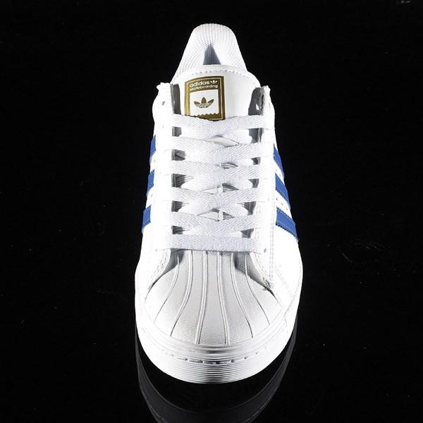 adidas Superstar Vulc ADV Shoe White, Royal, Gold Rotate 6 O'Clock