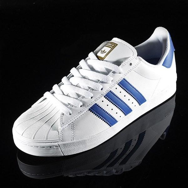 adidas Superstar Vulc ADV Shoe White, Royal, Gold Rotate 7:30