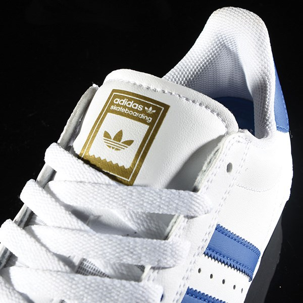 adidas Superstar Vulc ADV Shoe White, Royal, Gold Tongue