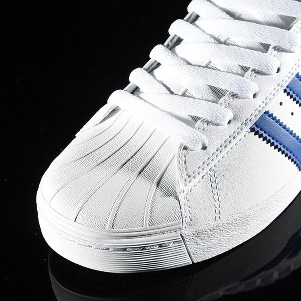 adidas Superstar Vulc ADV Shoe White, Royal, Gold Closeup