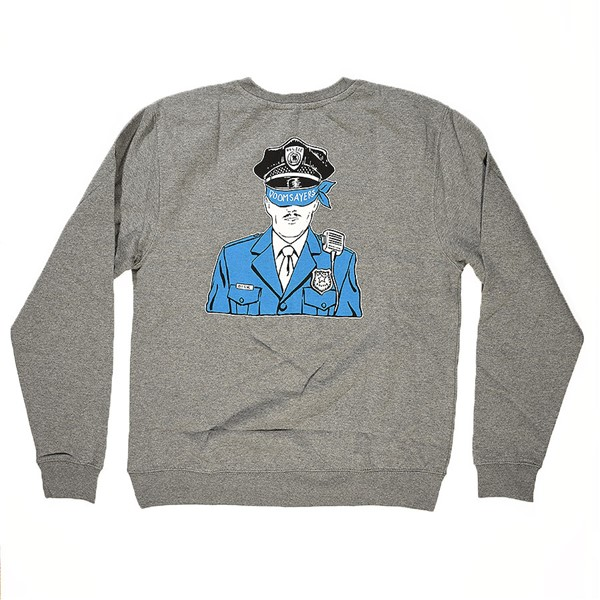 Doom Sayers Corp Cop Crew Neck Sweatshirt Heather Grey Back
