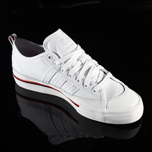 adidas Matchcourt Low RX3 Shoe Na-Kel Smith, White, Black, Scarlet Rotate 4:30