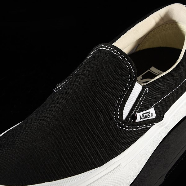 Vans Slip On Pro Shoes Black, White, Toe-Cap Tongue