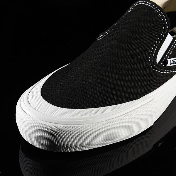 Vans Slip On Pro Shoes Black, White, Toe-Cap Closeup