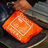 Doom Sayers Packable Travel Bag Black, Orange Detail.