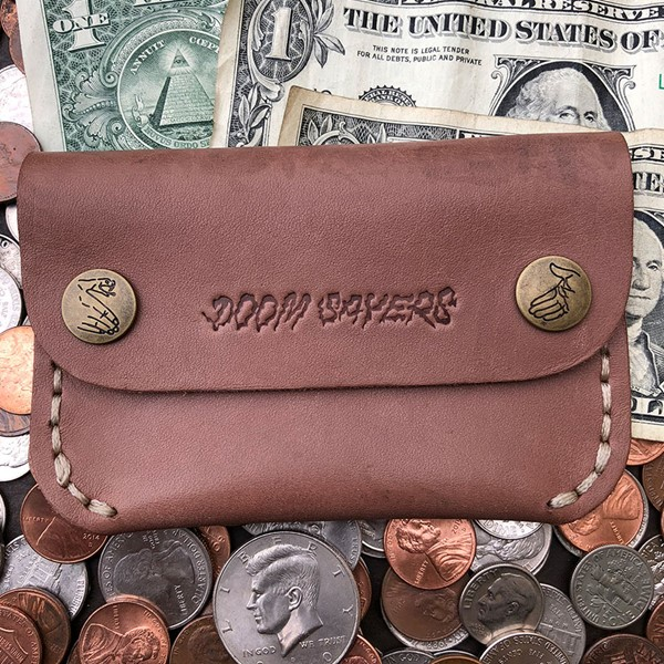 Doom Sayers Corp Guy Slim Leather Wallet Brown Leather Detail.