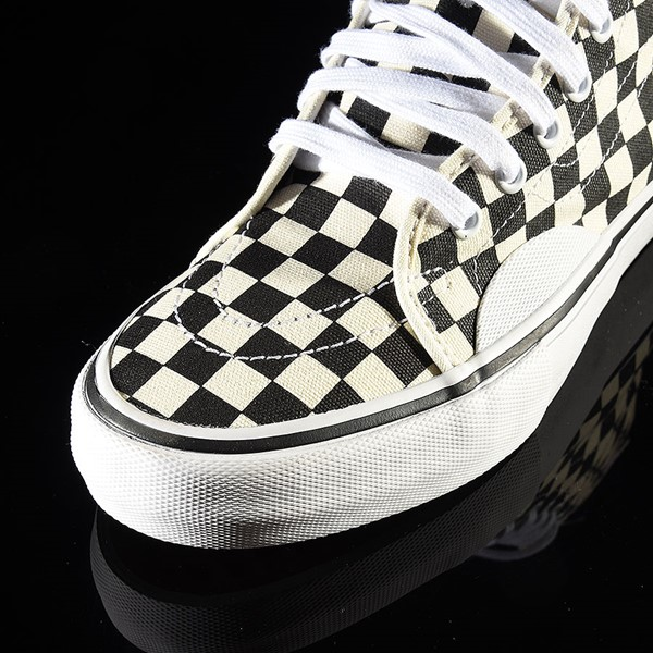 Vans AV Classic High Shoes Black, White Checkerboard Closeup