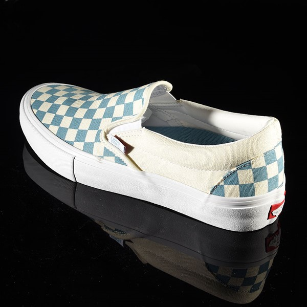 Vans Slip On Pro Shoes Adriatic Blue, White Checkerboard Rotate 7:30